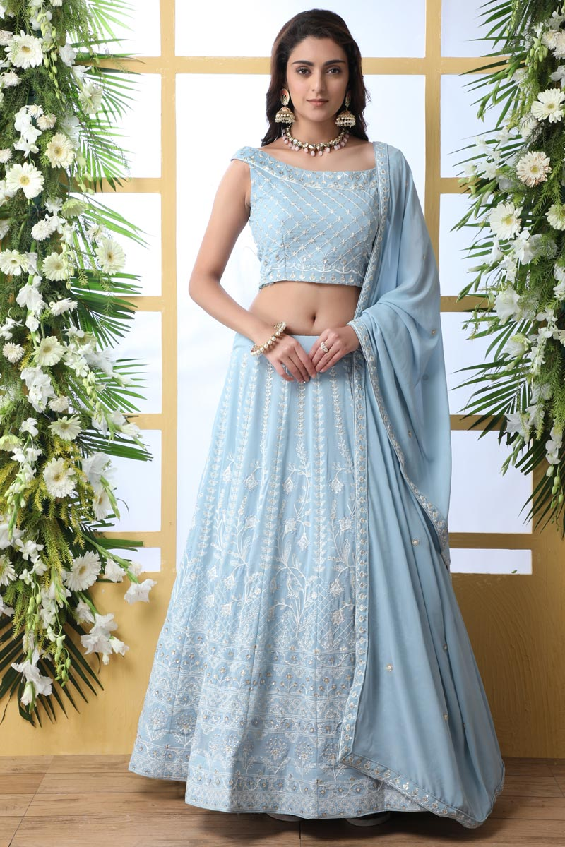 Eid Special Function Wear Georgette Fabric Embroidered Light Cyan Color Designer Lehenga Choli