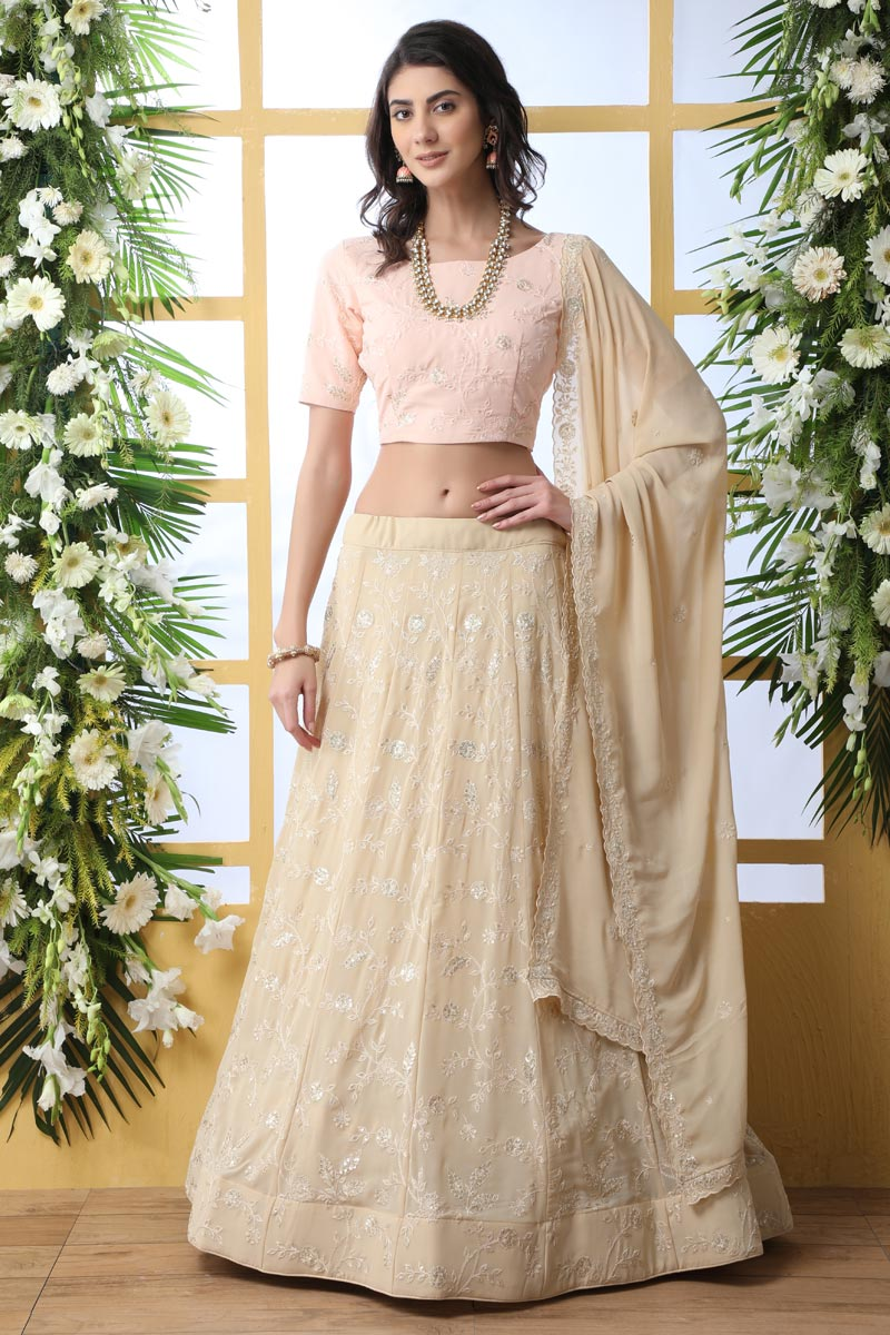 Function Wear Beige Color Georgette Fabric Embroidered Designer Lehenga Choli