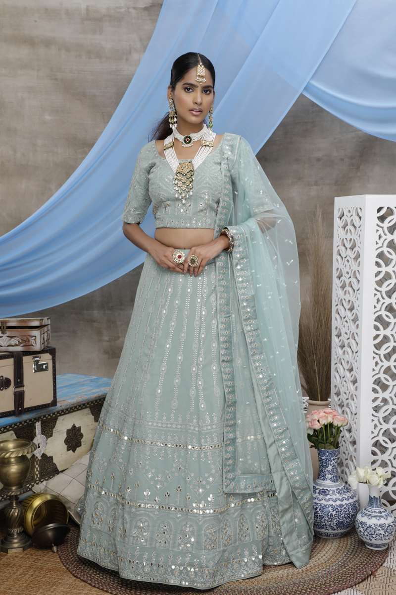 Georgette Fabric Wedding Wear 3 Piece Lehenga In Light Cyan Color With Embroidery Work