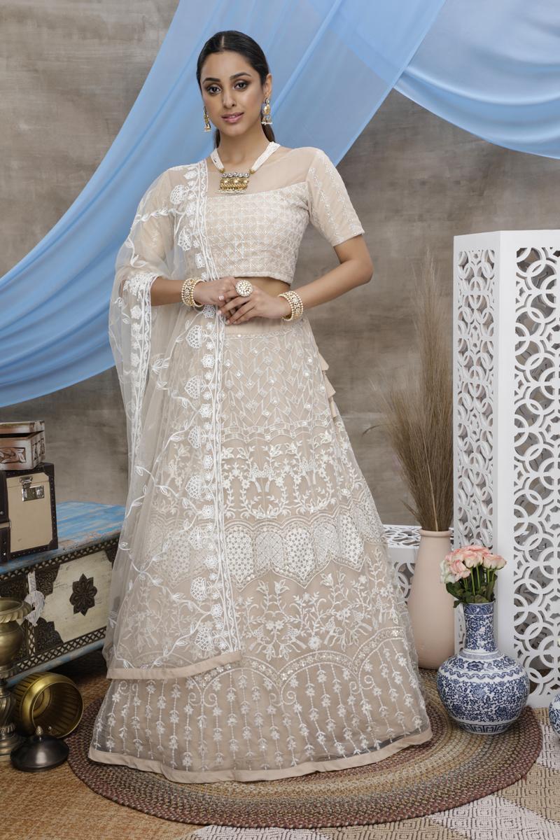 Festive Special Net Fabric Beige Color Wedding Wear 3 Piece Lehenga Choli With Embroidery Work