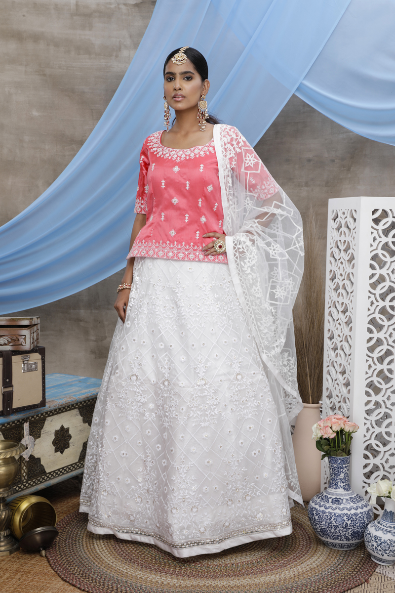 Festive Special Pink And White Color Designer Wedding Lehenga With Embroidery Work On Net Fabric