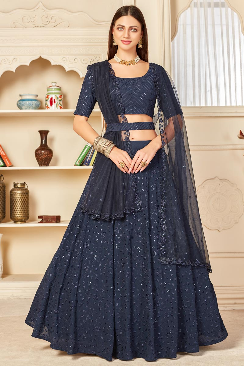 Wedding Wear Navy Blue Color Embroidered Lehenga Choli In Georgette Fabric