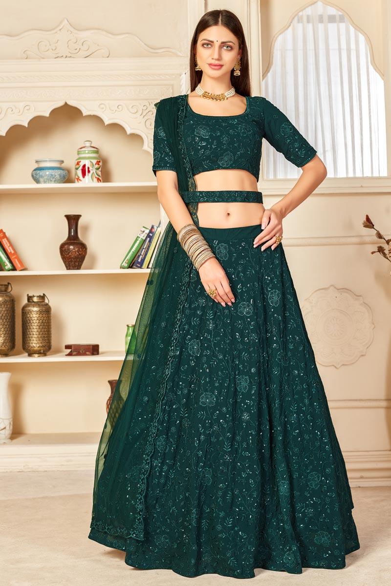 Georgette Fabric Wedding Wear Dark Green Color Embroidered Lehenga Choli