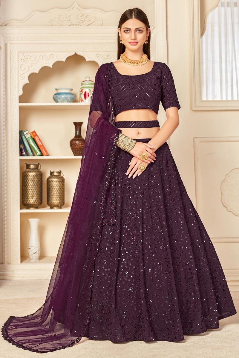 Purple Color Embroidered Wedding Wear Lehenga Choli In Georgette Fabric