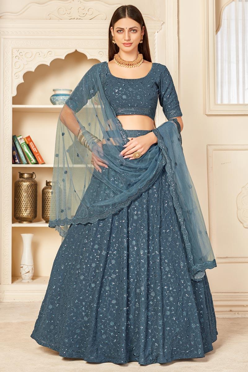 Wedding Wear Georgette Fabric Embroidered Lehenga Choli In Grey Color