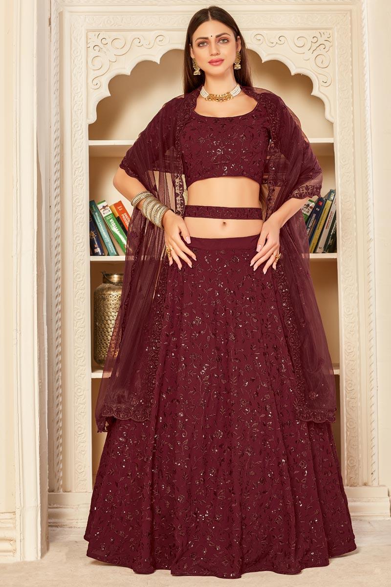 Wedding Wear Maroon Color Georgette Fabric Embroidered Lehenga Choli