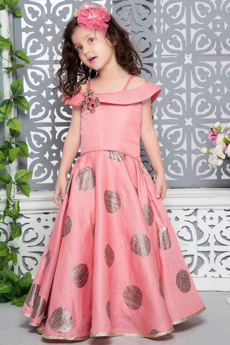 Best Selling Fancy Work On Pink Girls Ethnic Wear Gown In Art Silk Fabric