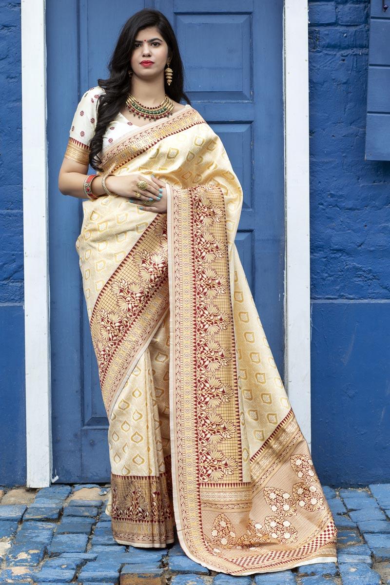 Beige Color Festive Wear Art Silk Fabric Fancy Weaving Work Saree