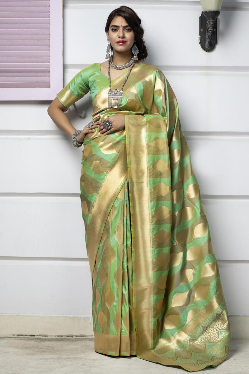 Art Silk Fabric Party Wear Sea Green Color Fancy Weaving Work Saree
