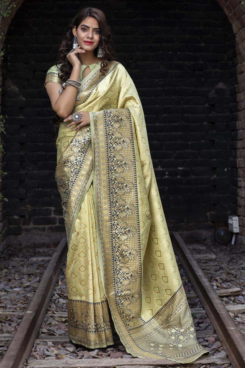 Sangeet Wear Cream Color Art Silk Fabric Fancy Weaving Work Saree