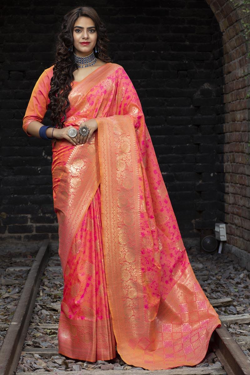 Wedding Wear Art Silk Fabric Fancy Weaving Work Saree In Rani Color