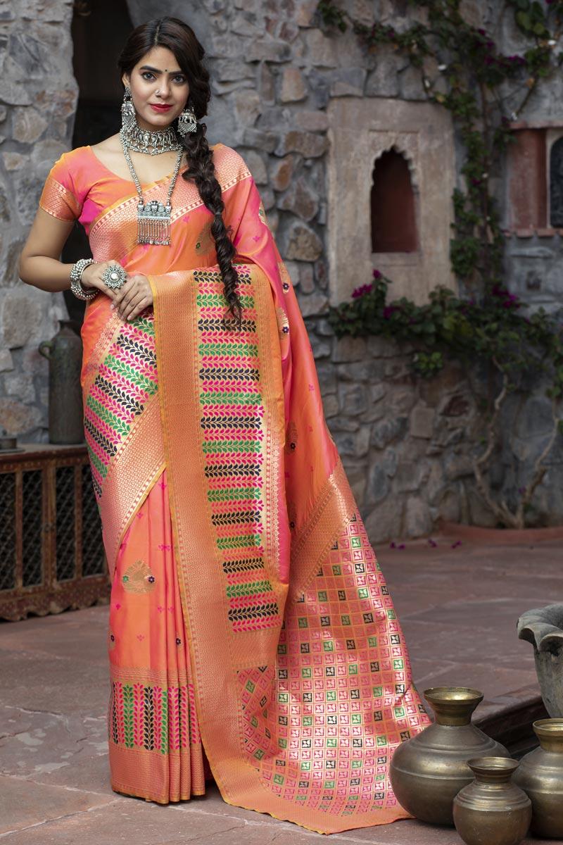 Peach Color Reception Wear Art Silk Fabric Fancy Weaving Work Saree