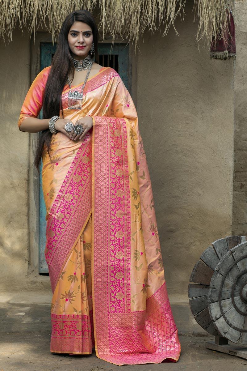 Yellow Color Function Wear Art Silk Fabric Fancy Weaving Work Saree