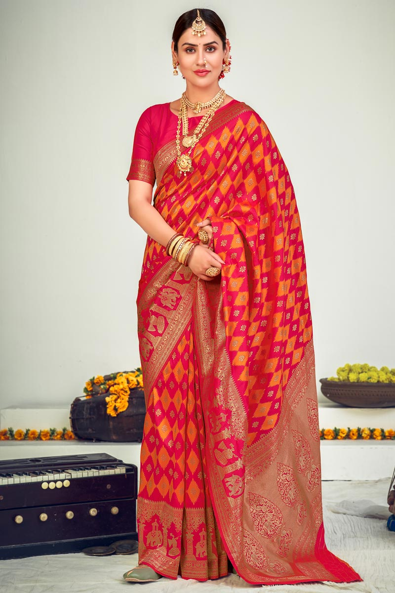 Pink Color Art Silk Fabric Wedding Wear Designer Weaving Work Saree
