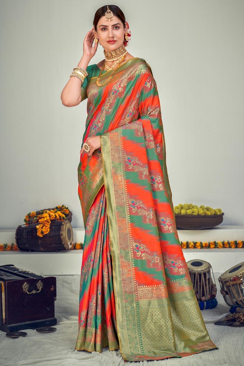 Multi Color Function Wear Designer Art Silk Fabric Weaving Work Saree