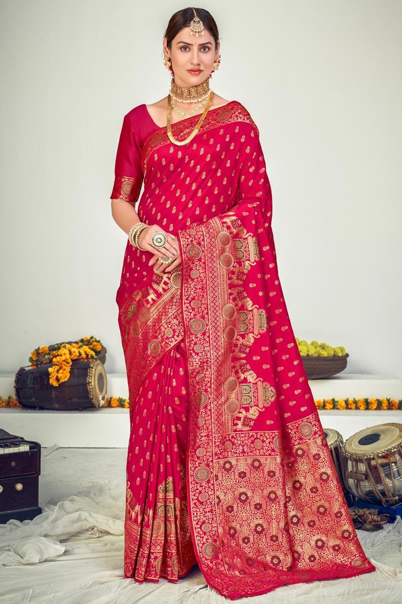 Art Silk Fabric Festive Wear Rani Weaving Work Saree