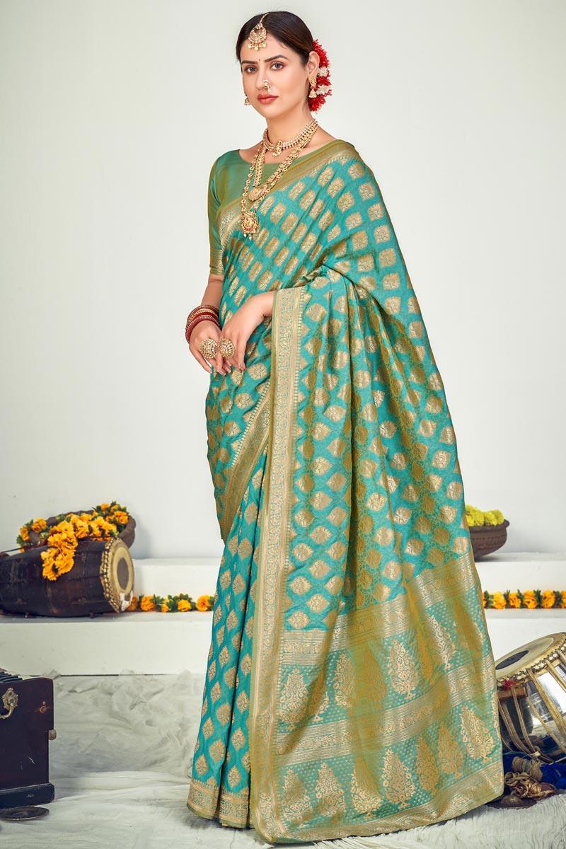 Party Wear Cyan Color Art Silk Fabric Designer Weaving Work Saree