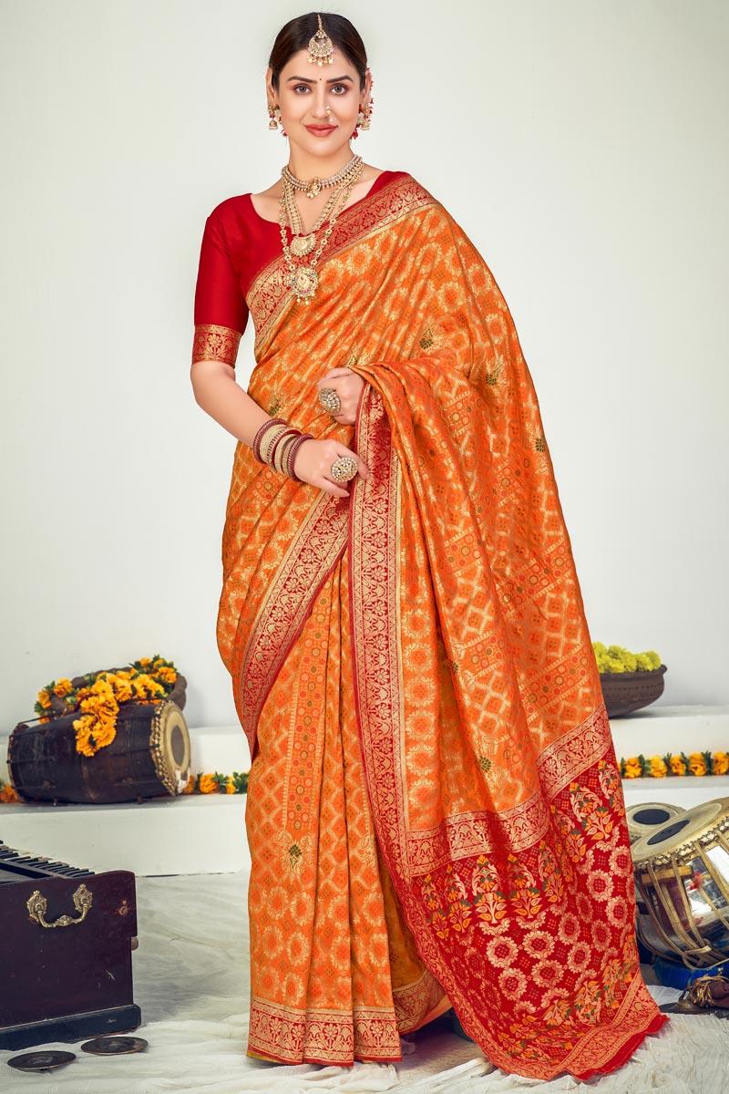 Sangeet Wear Art Silk Weaving Work Saree In Orange Color