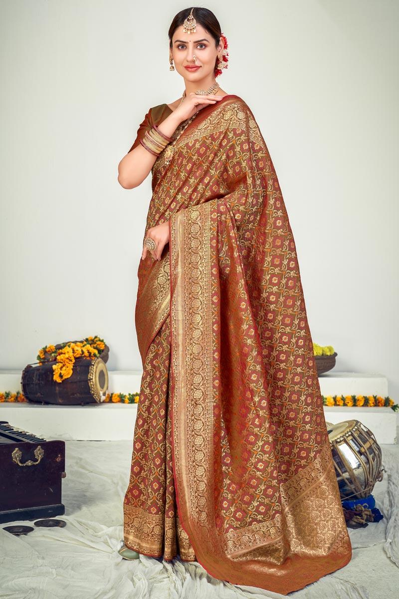 Brown Color Wedding Wear Designer Art Silk Fabric Weaving Work Saree