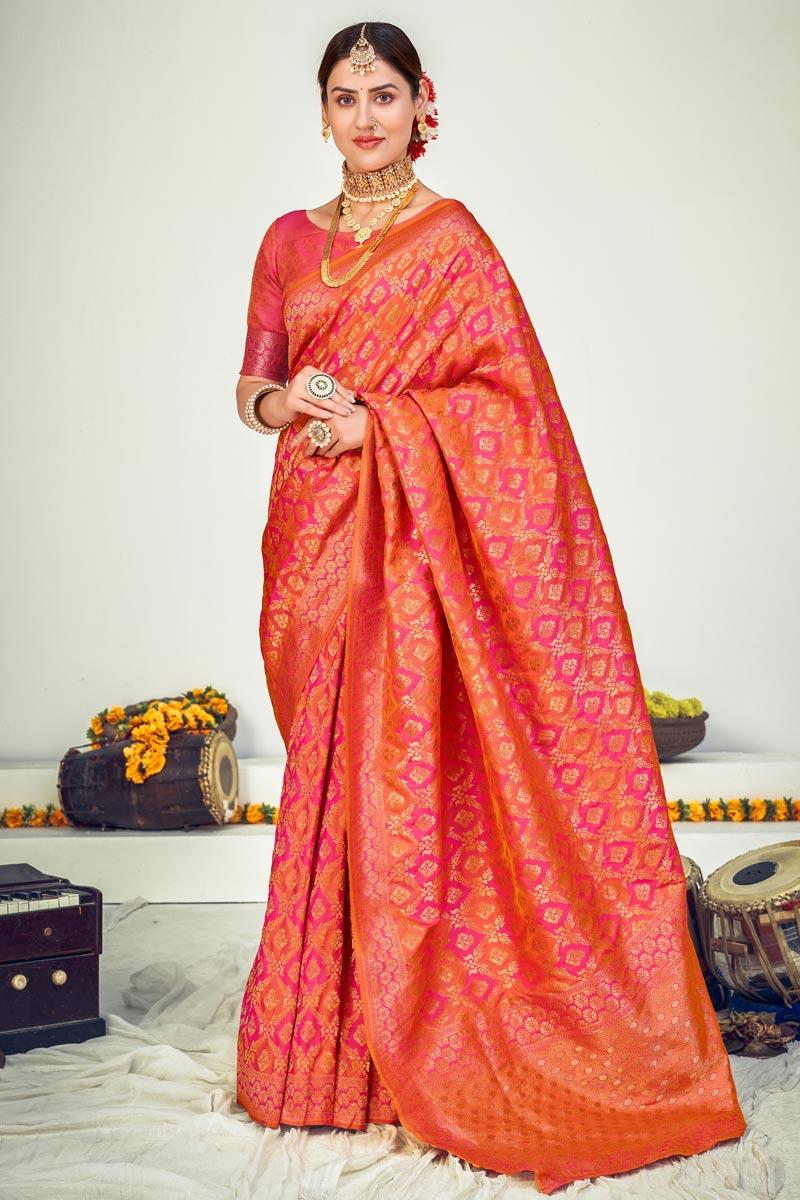 Art Silk Fabric Reception Wear Peach Color Weaving Work Saree