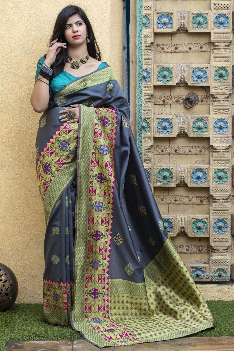Function Wear Grey Color Fancy Saree In Art Silk Fabric