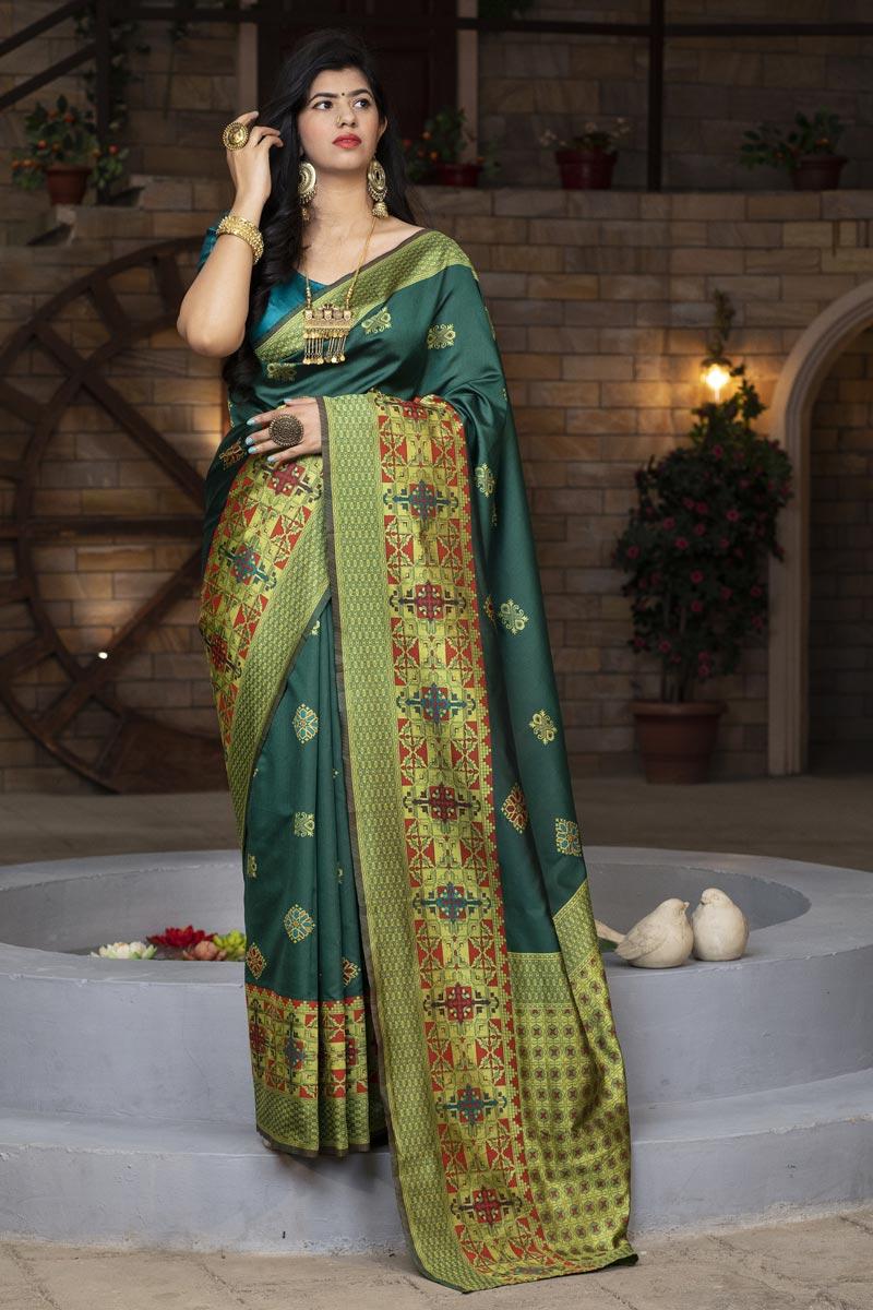 Designer Dark Green Color Art Silk Fabric Party Wear Fancy Saree
