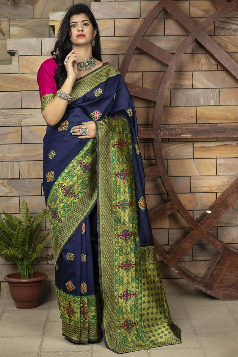 Art Silk Fabric Navy Blue Color Designer Fancy Saree