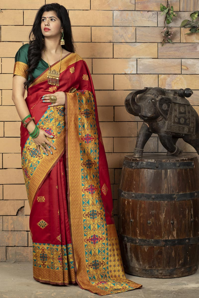 Red Color Art Silk Fabric Occasion Wear Fancy Saree