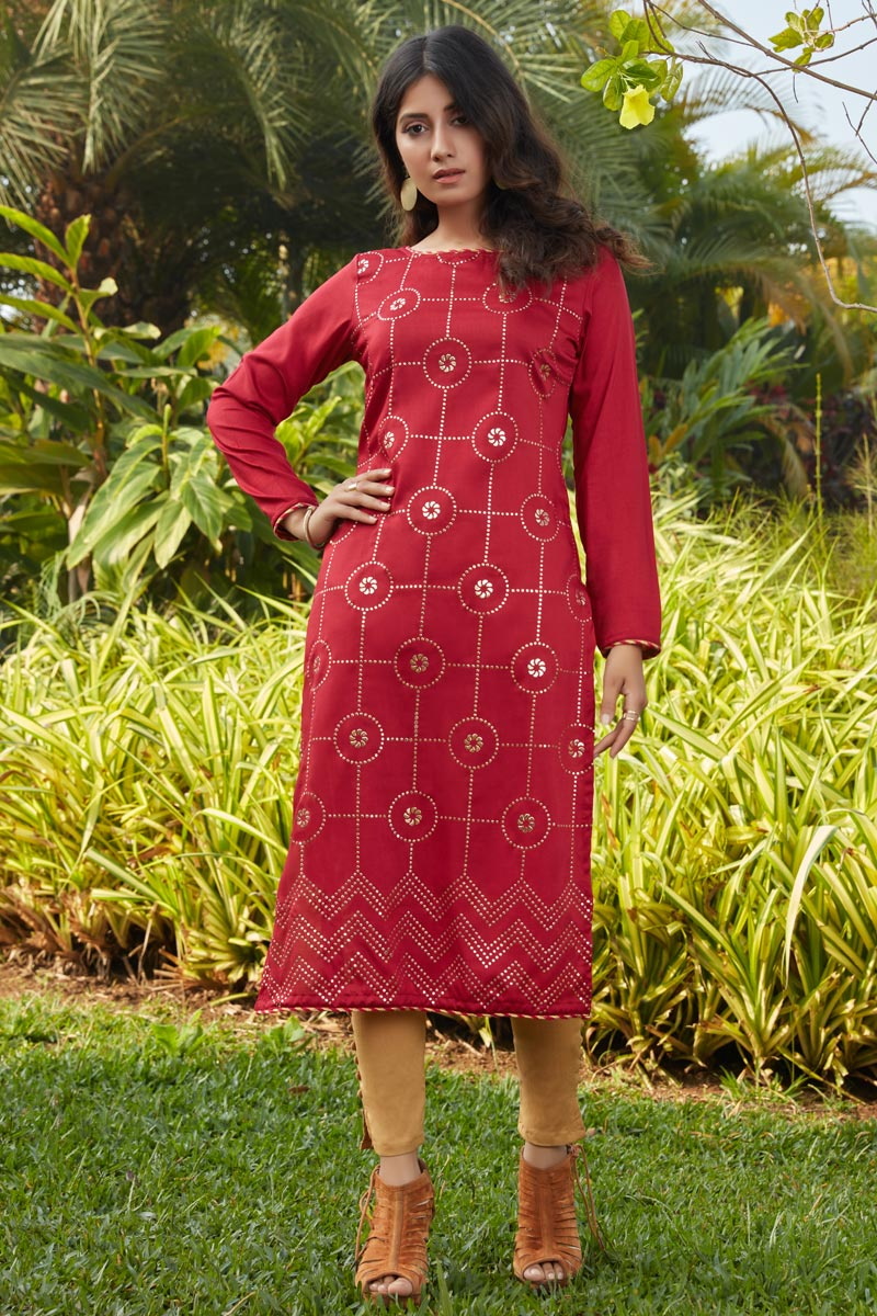 Red Color Casual Wear Stylish Cotton Fabric Kurti
