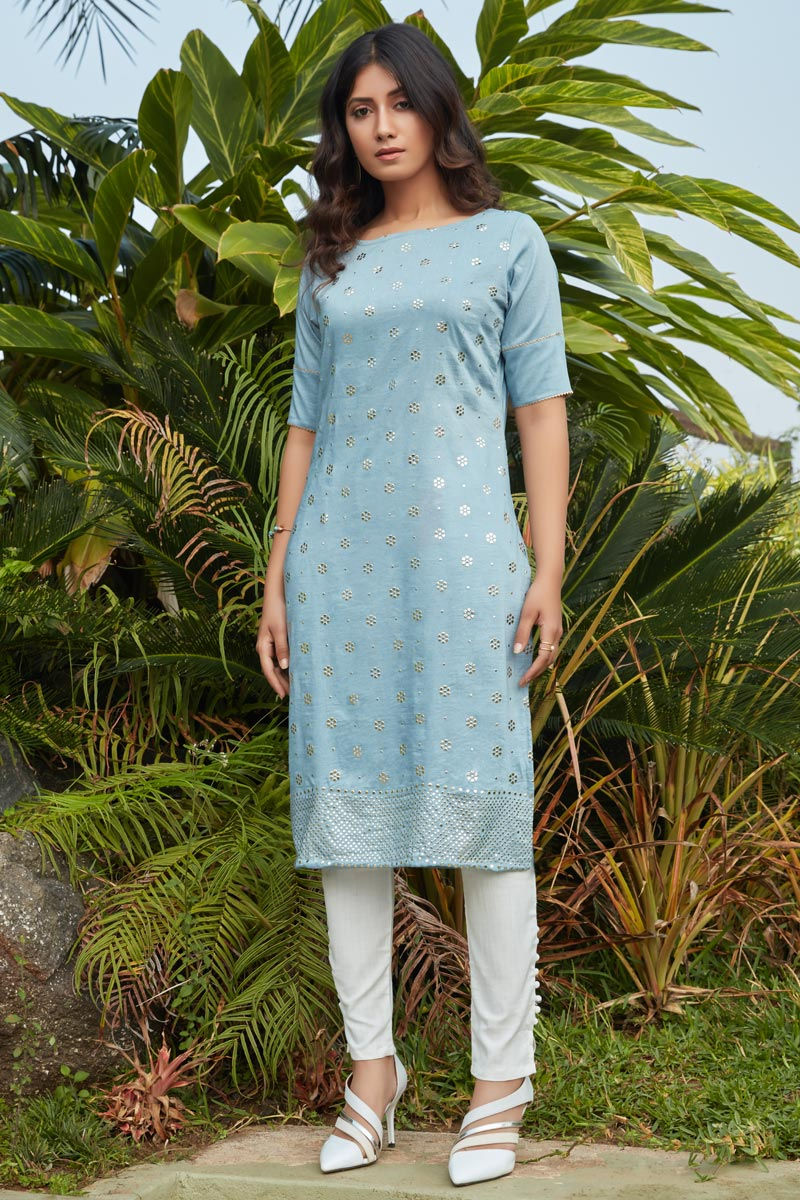 Cotton Fabric Light Cyan Color Daily Wear Simple Kurti