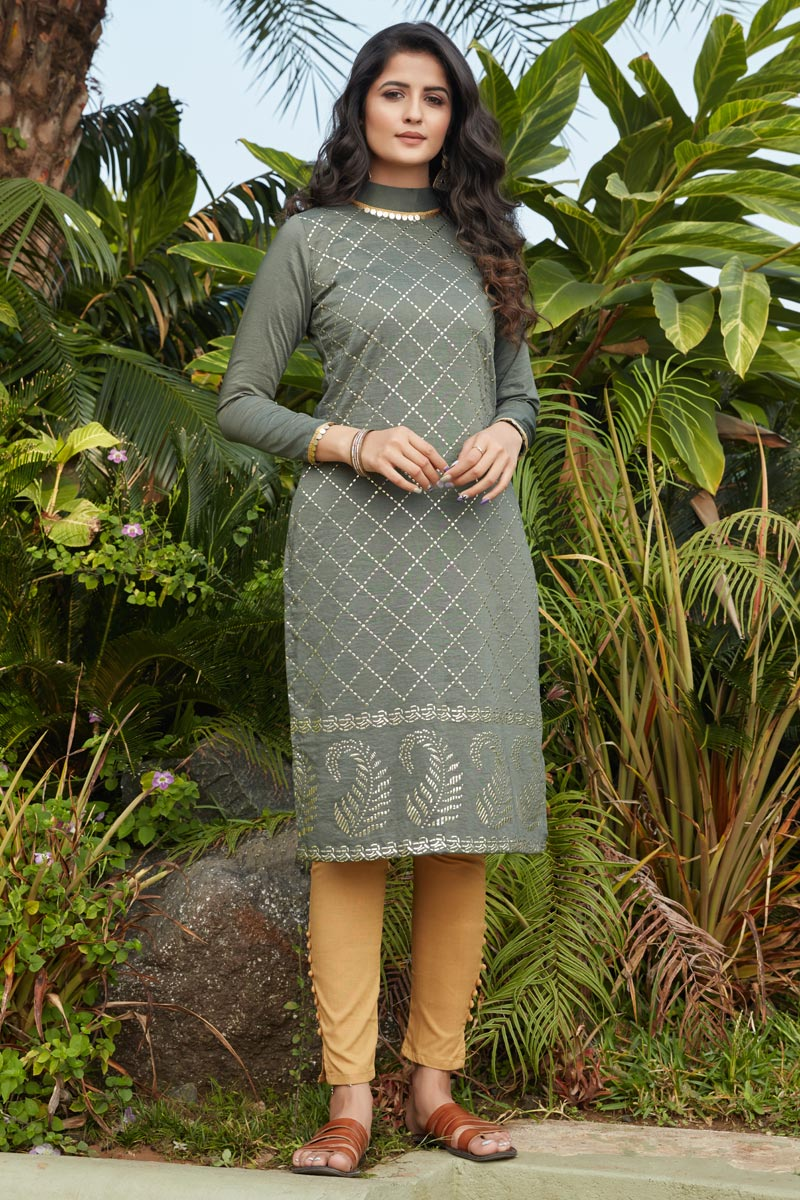 Stylish Grey Color Daily Wear Simple Kurti In Cotton Fabric