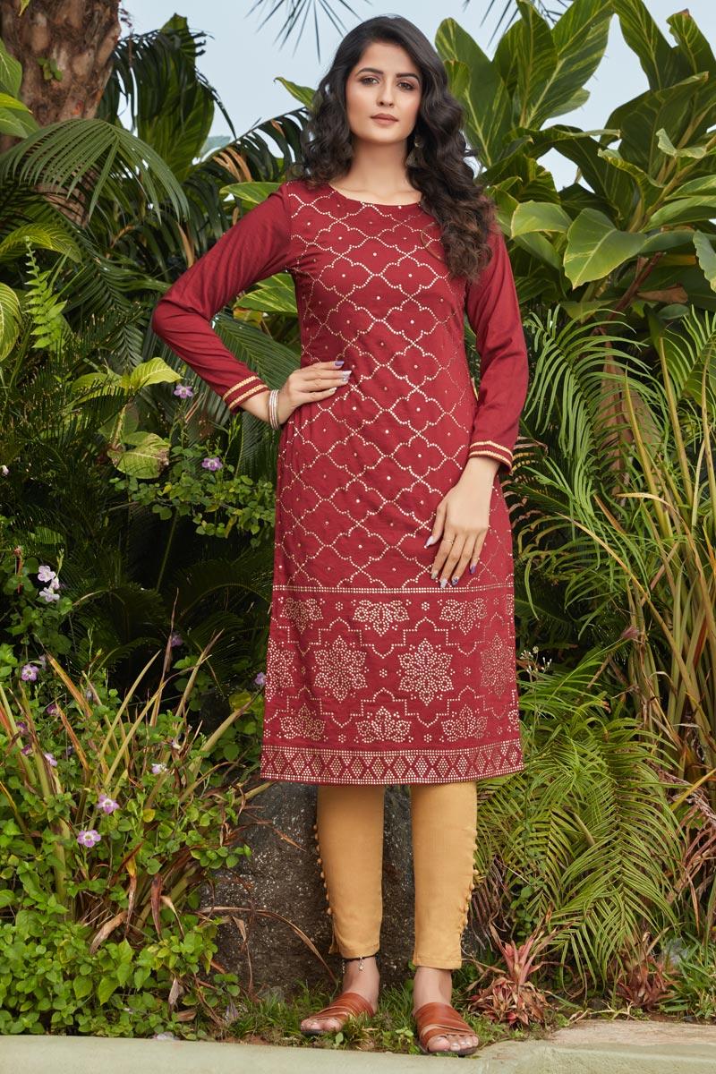 Cotton Fabric Maroon Color Simple Fancy Work Casual Wear Kurti