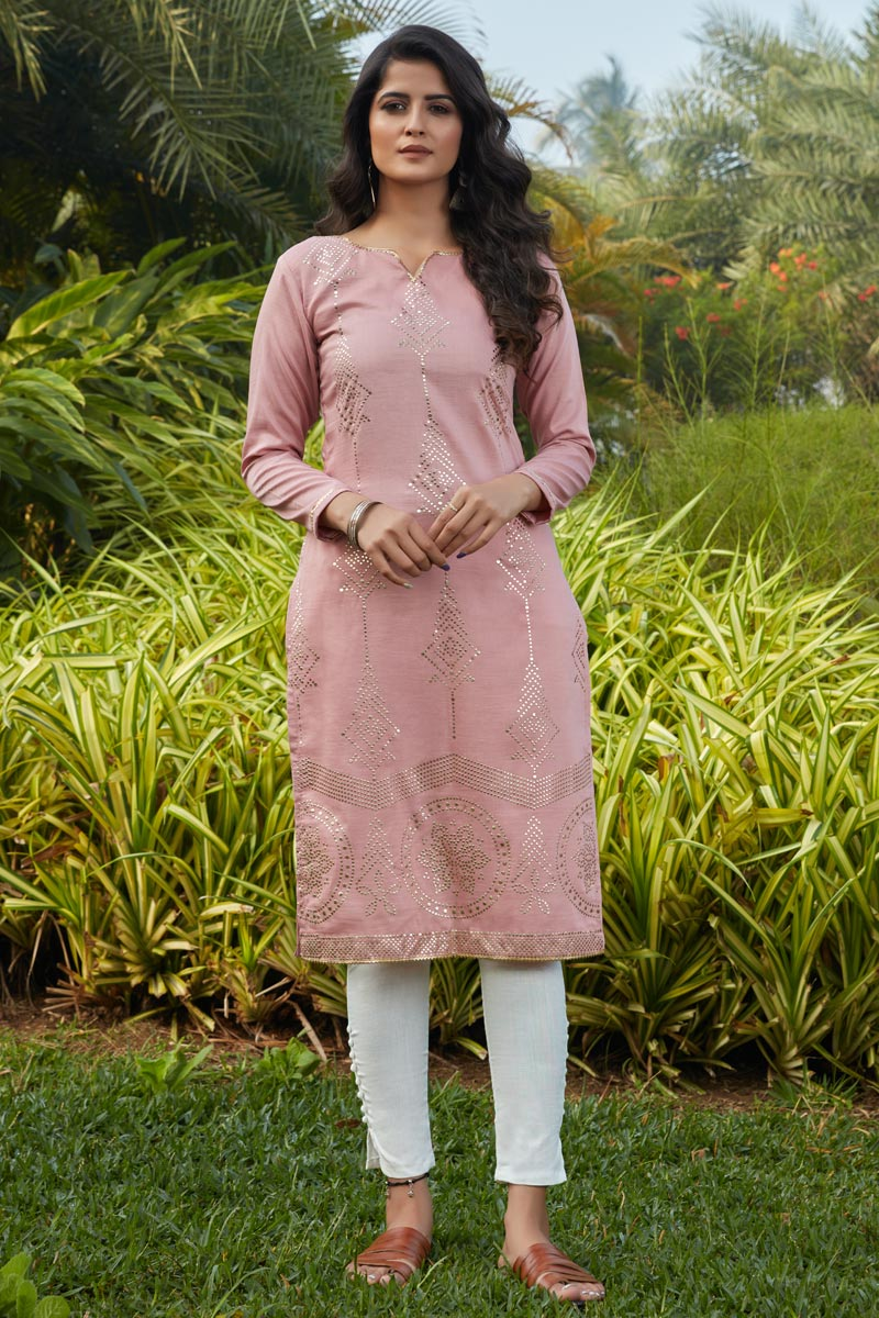 Casual Wear Pink Color Cotton Fabric Kurti