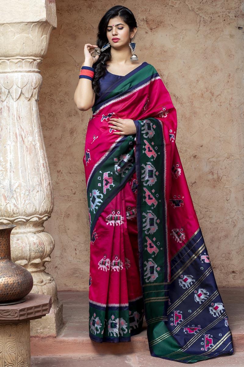 Rani Color Festive Wear Art Silk Chic Patola Weaving Work Saree