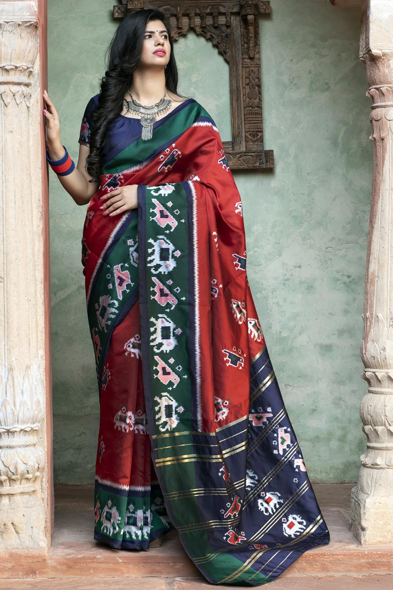 Festive Wear Red Color Chic Art Silk Patola Weaving Work Saree