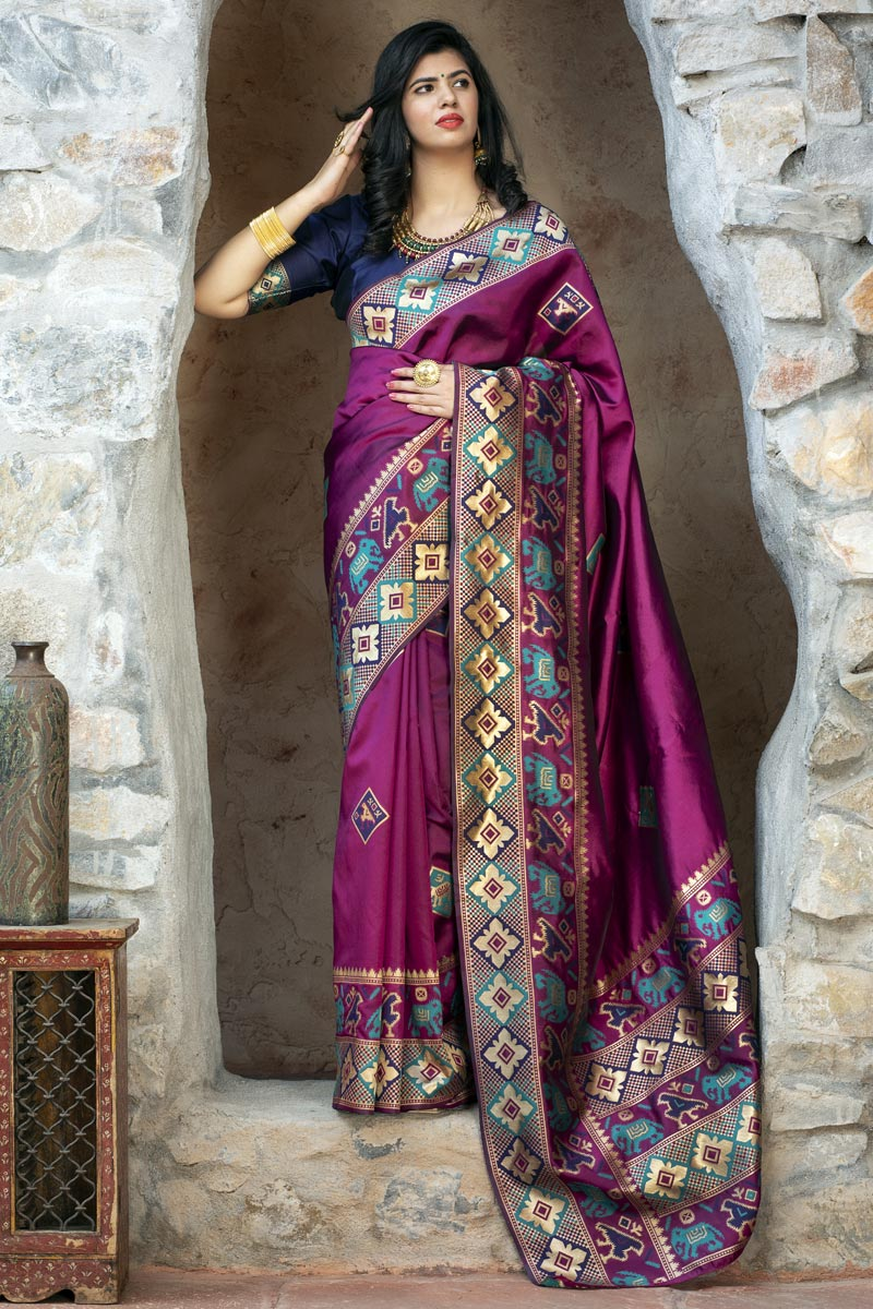 Purple Color Party Wear Art Silk Fancy Patola Weaving Work Saree