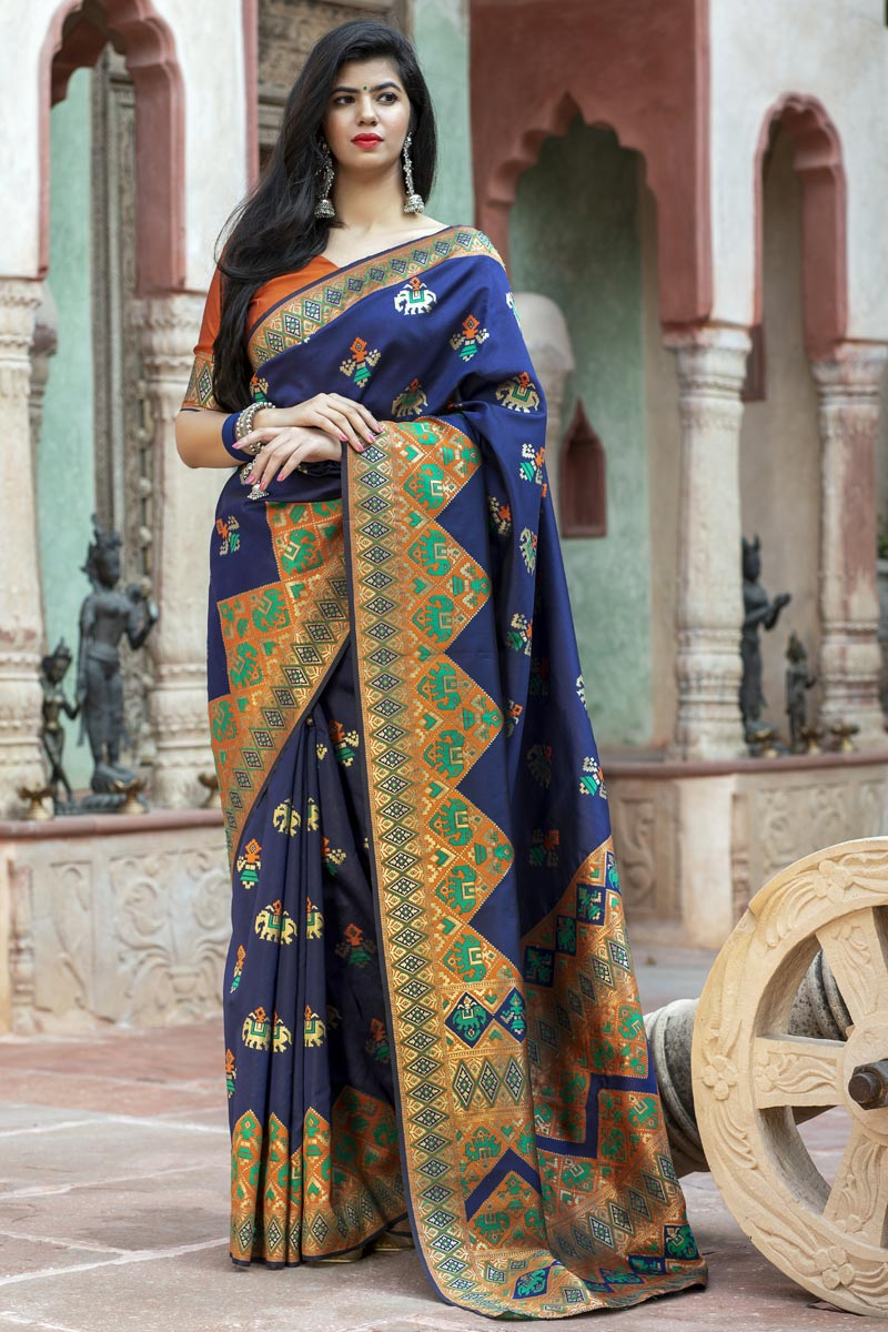 Party Wear Navy Blue Color Fancy Art Silk Patola Weaving Work Saree
