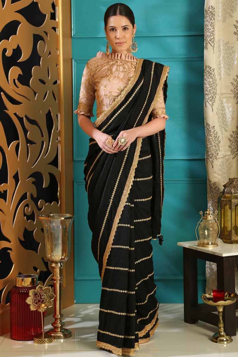 Black Party Style Designer Embroidered Saree In Art Silk