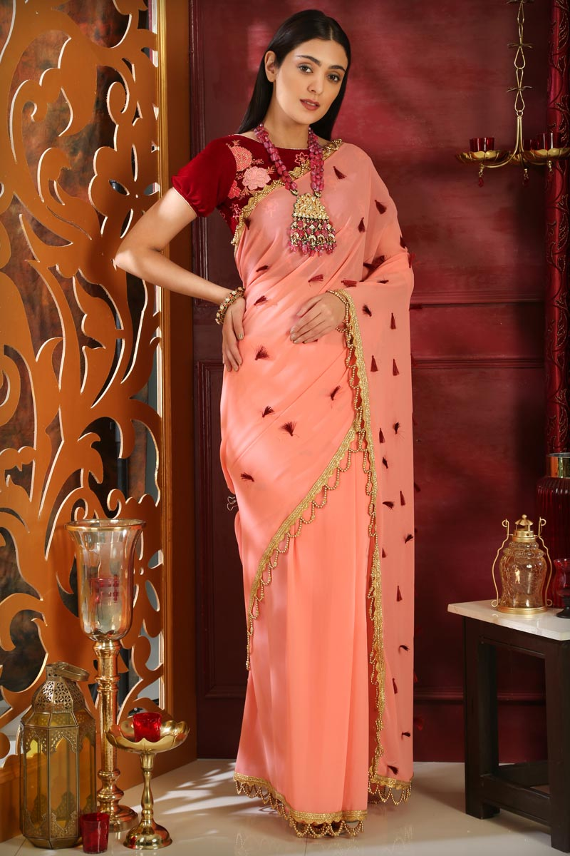 Party Style Georgette Embroidered Designer Saree In Peach