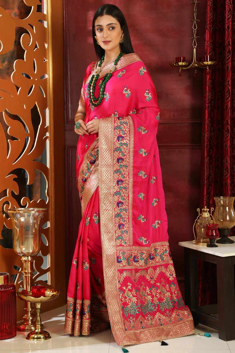 Art Silk Designer Party Style Rani Color Embroidered Saree