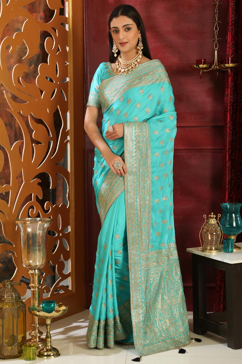 Designer Party Style Art Silk Embroidered Saree In Cyan