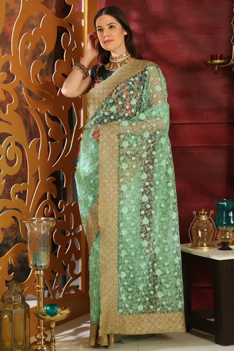 Sea Green Fancy Fabric Designer Party Style Embroidered Saree