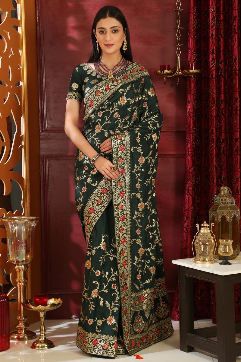 Art Silk Designer Party Wear Embroidered Dark Green Saree