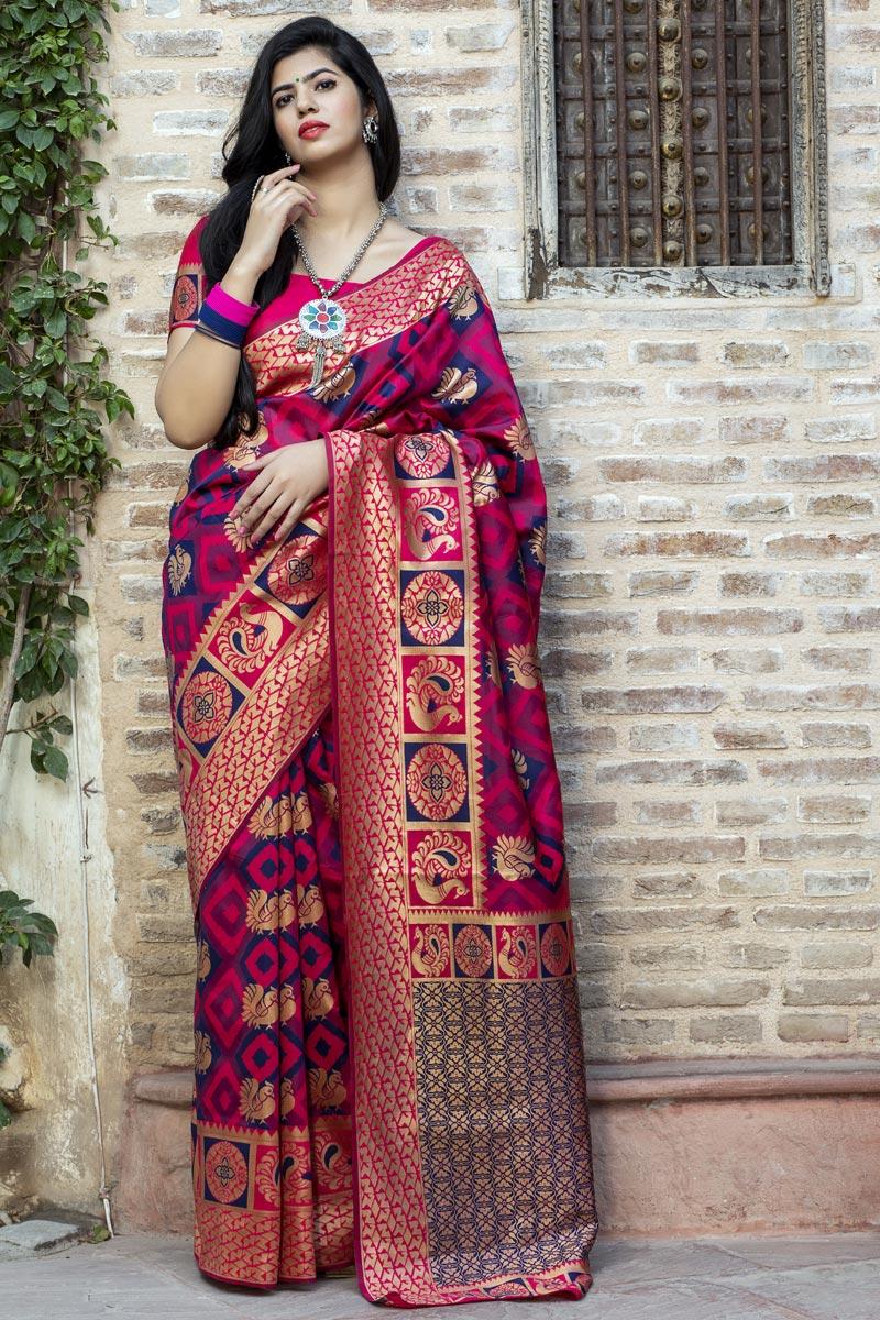 Art Silk Fabric Festive Wear Rani Color Patola Weaving Work Saree