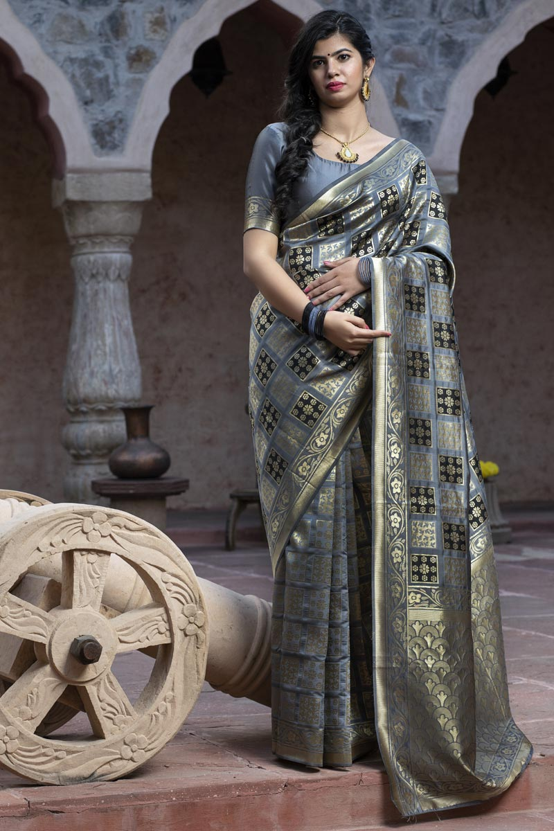 Festive Wear Grey Color Art Silk Fabric Patola Weaving Work Saree