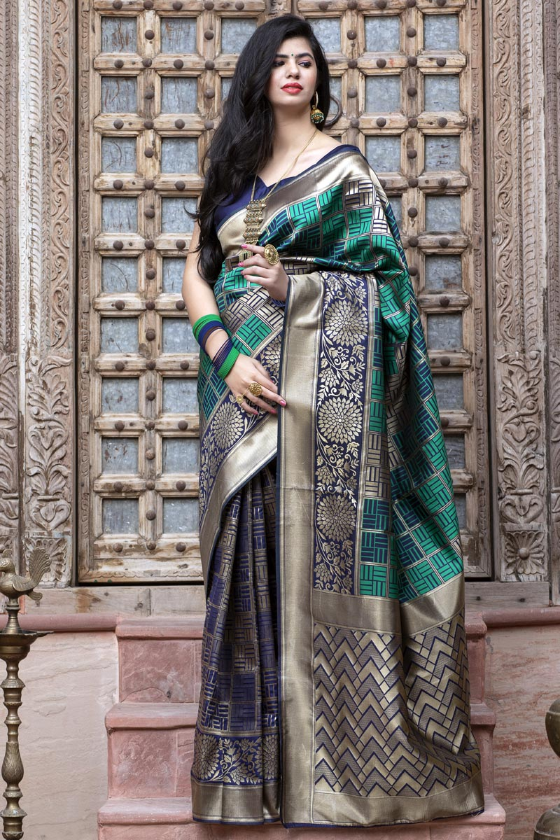 Festive Wear Cyan Color Art Silk Fabric Patola Weaving Work Saree