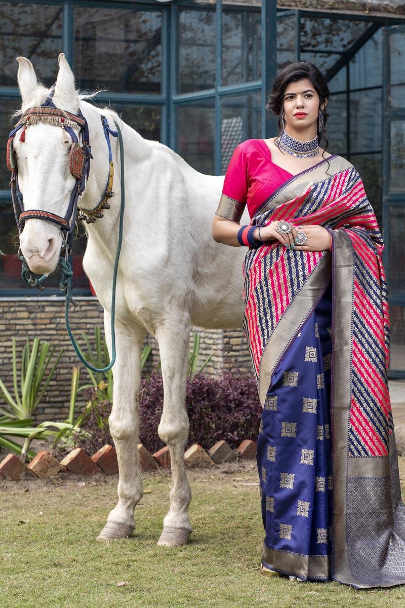 Navy Blue Color Festive Wear Art Silk Patola Style Weaving Work Saree
