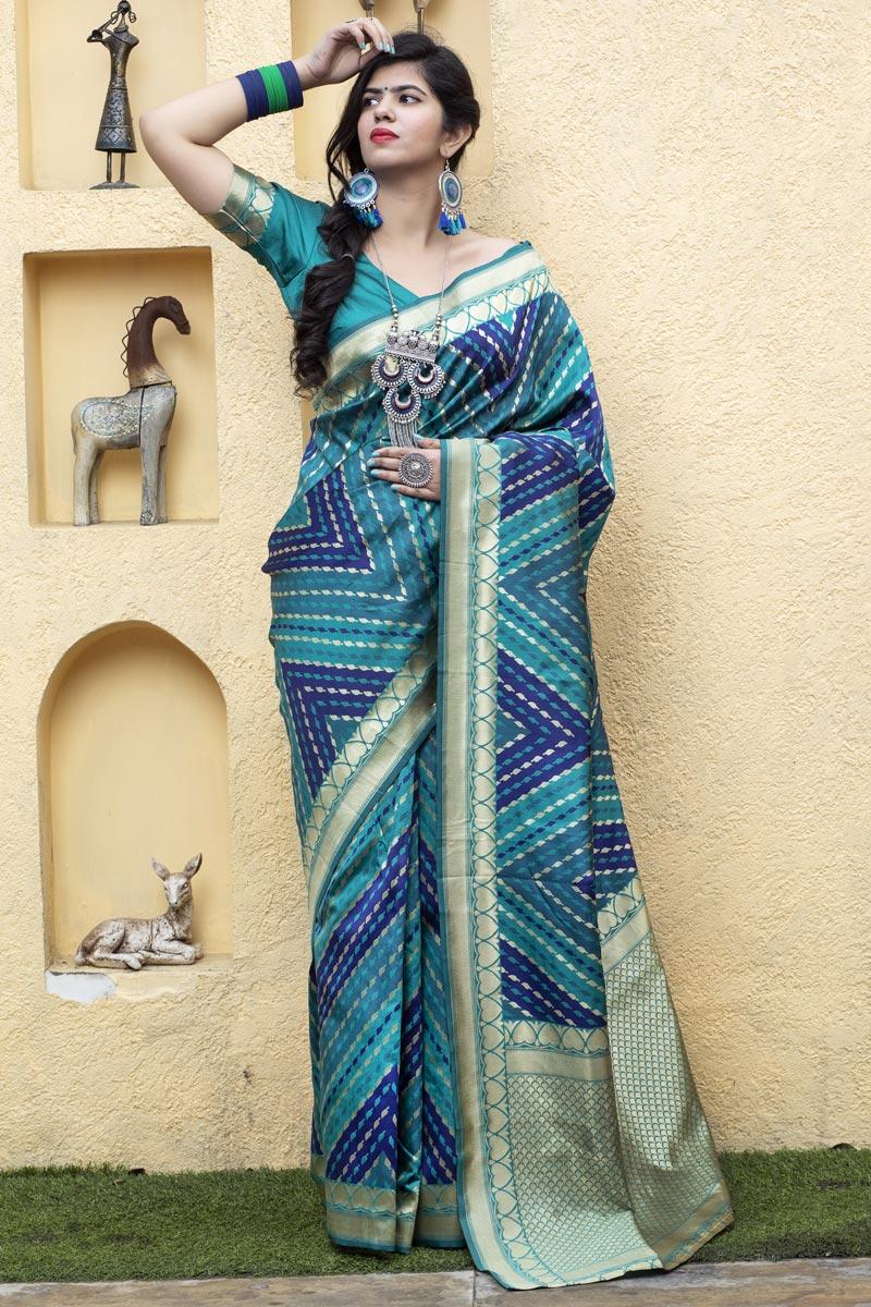 Art Silk Festive Wear Patola Style Weaving Work Saree In Cyan Color