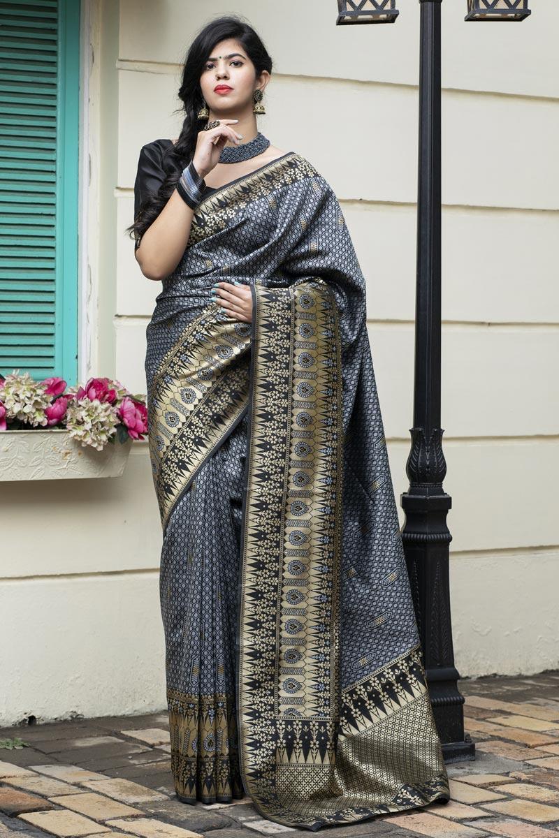 Festive Wear Art Silk Patola Style Weaving Work Saree In Grey Color