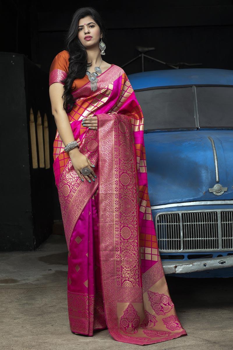 Rani Color Festive Wear Patola Style Weaving Work Saree In Art Silk